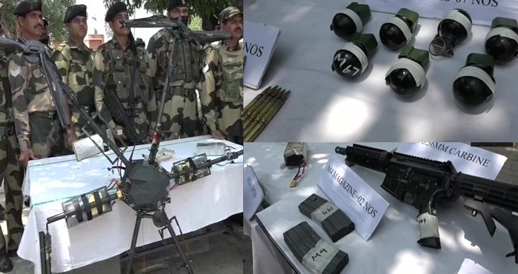 BSF shoots Pak drone loaded by Arms and Grenades  - The Wall Post