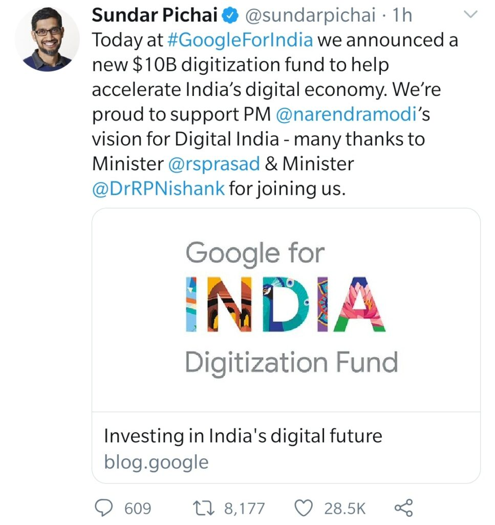 Google likely to invest $10 billion in PM's initiative to digitize India - The Wall Post