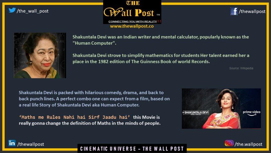 Shakuntala Devi - Starring Vidya Balan - Cinematic Universe -The Wall Post